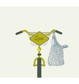 yellow bicycle with love sign vector image