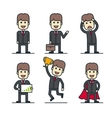 Set of businessman characters in different poses vector image