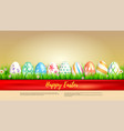banner with easter eggs wrapped in red ribbon vector image