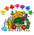 basic colors with vegetables characters group vector image vector image