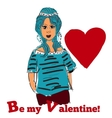 beautiful cute girl Be my valentine vector image