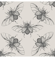 Beetles with wings vintage seamless pattern vector image vector image