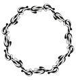 black and white candy cane wreath silhouette vector image