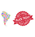 black friday collage of mosaic map of south vector image vector image