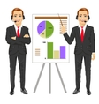 businessman standing near flip board vector image vector image