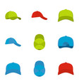 cap icons set flat style vector image