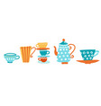 ceramic teapot and many mugs and cups with a hot vector image