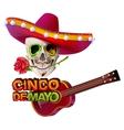 Cinco de Mayo Mexican skull in sombrero holding vector image vector image