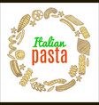 composition with hand drawn pasta vector image vector image