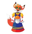 Cute fox in a dress with pastries hand vector image vector image