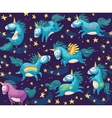 Cute seamless pattern with unicorns in the night vector image vector image