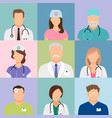 doctors and nurses profile icons vector image vector image
