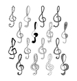 Doodle set of black treble clef vector image vector image