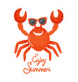 enjoy summer crab in glasses oceanic animal vector image