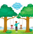 Father Care Kids Sitting On Swing vector image vector image