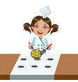 girl frying nuggets on electric stove cute kid in vector image vector image