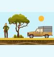 hunter in safari hunterman vector image vector image