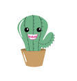 kawaii cute happy cactus plant vector image vector image