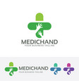 medical hand logo design vector image vector image