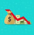 money loss flat cartoon paper vector image