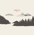 mountain lake pine forest style hand drawn vector image vector image