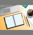 notebooke computer and cup of coffee vector image vector image