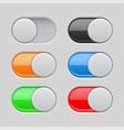 on and off toggle switch buttons colored set of vector image vector image