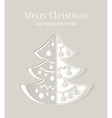 Paper cut-out christmas tree with smooth shadows vector image vector image