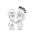 piligrims and indians coloring page vector image vector image