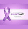 purple ribbon banner to world pancreatic cancer vector image