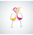 red and white wine love concept background vector image vector image