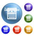 retro typewriter icons set vector image
