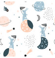 seamless childish pattern with catching stars cute vector image vector image