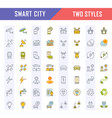 set flat line icons smart city vector image vector image