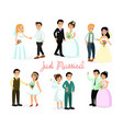 set of happy characters bride vector image