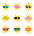 set of sun icons with sunglasses vector image