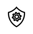 shield with gear outline icon linear style sign vector image