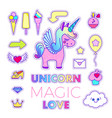 stickers set with unicorn arrow shoe letter vector image vector image