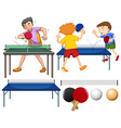 Table tennis set with players and equipments vector image
