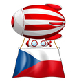 The flag of Czech Republic and the floating vector image vector image