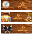 Three horizontal pirate banners vector image vector image