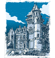 Vintage Hand Drawn View of Old Castle in Belgium vector image vector image