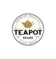 vintage retro teapot logo design - ve vector image