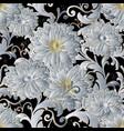 white 3d flowers vintage seamless pattern