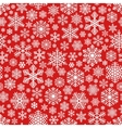 White Snowflakes Pattern on Red Background vector image vector image