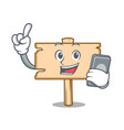 with phone wooden board character cartoon vector image vector image
