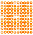 100 marketing icons set orange vector image vector image