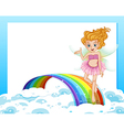 An empty template with a fairy above the rainbow vector image vector image