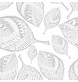 Autumn grayscale seamless stylized leaf pattern