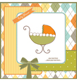 baby shower card with stroller vector image vector image